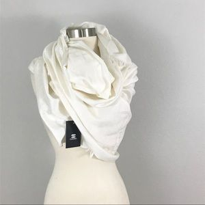 Chanel NWT CC Wool Scarf Wrap White Ivory